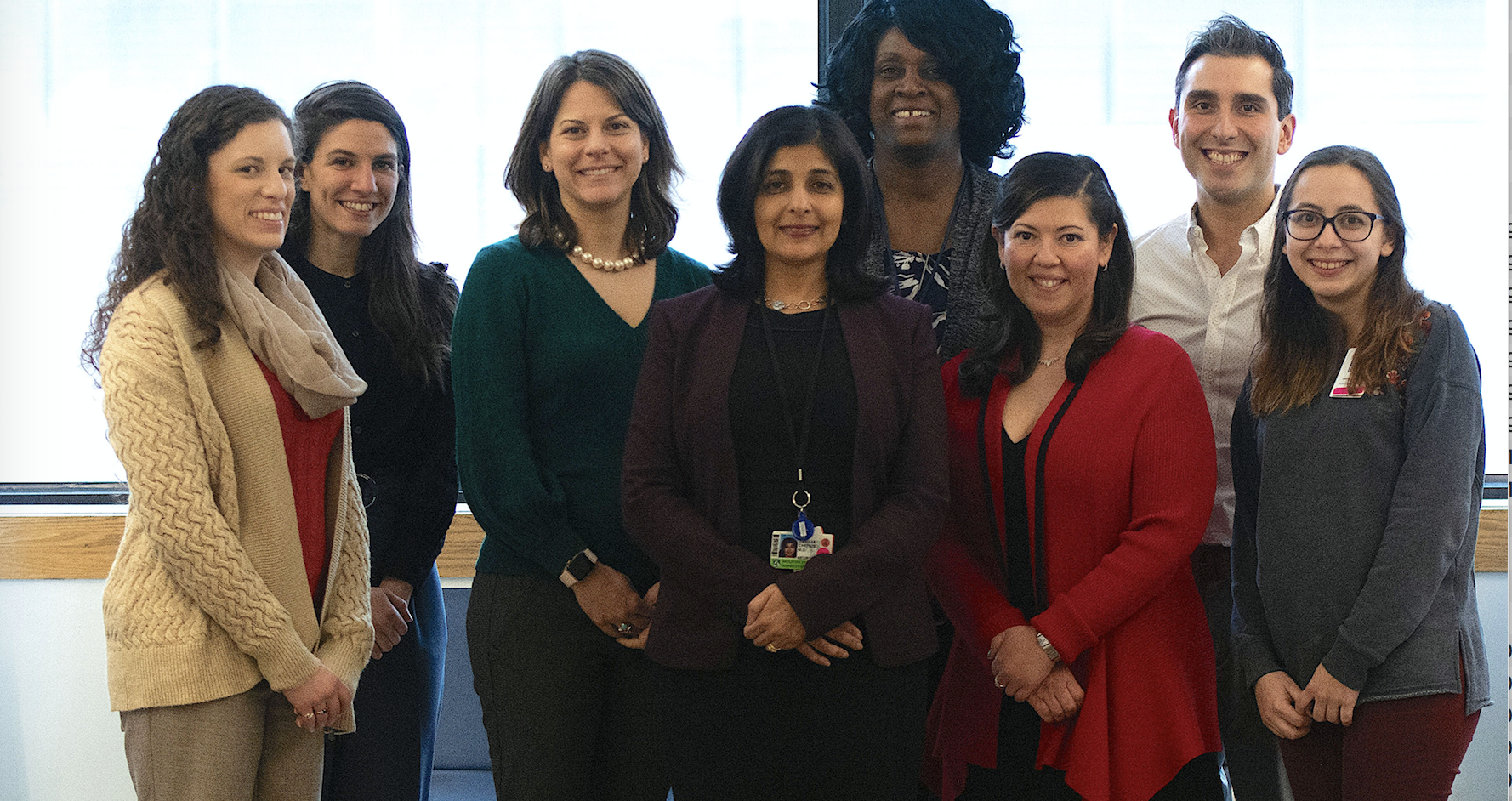 Left to right: Tracy Popkin, RN, CPN (Nurse); Maria Theodorakakis, PhD (Neuropsychology Fellow); Ellen O'Donnell, PhD (Neuropsychologist); Tanuja Chitnis, MD (Clinic Director);  Jackie Brown (Patient Services Coordinator); Katia Canenguez, PhD, EdM (Psychologist); Jonathan Santoro, MD (Clinical Fellow); Paola Castro, BA (Study Coordinator)